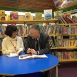 Headteacher Nick Rudman talking to Prof Elisa Palomba
